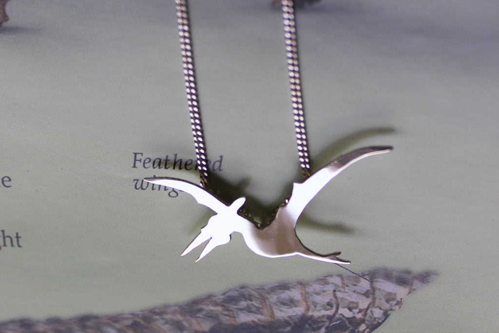 Pterodactyl Dinosaur Necklace in sterling silver