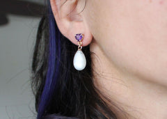 Refract Earrings in 14k yellow gold moonstone drops with amethyst and garnet