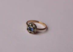 Interference colourful gemstone engagement ring in 14K yellow gold with coloured sapphires and smokey quartz
