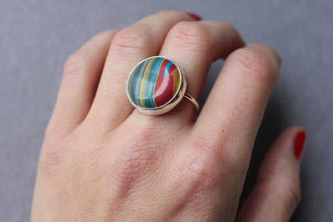 Rainbow Calsilica Cocktail Ring - ready to ship size 7.25