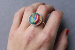 Rainbow Calsilica Adjustable Cocktail Ring