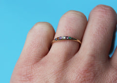Rainbow Wavelength Ring dainty wedding band in 10K yellow gold with gemstones