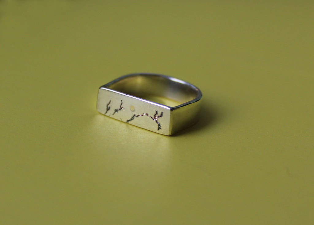 Bare Branches Rectangular Signet ring with 10K gold sun - Ready to ship in size 6.5