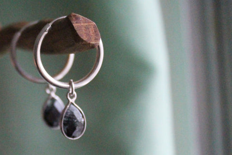 Rutilated Quartz hoop earrings