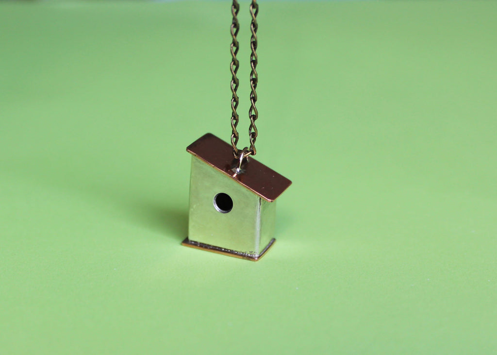 Silver and Copper Mixed Metal Birdhouse Necklace
