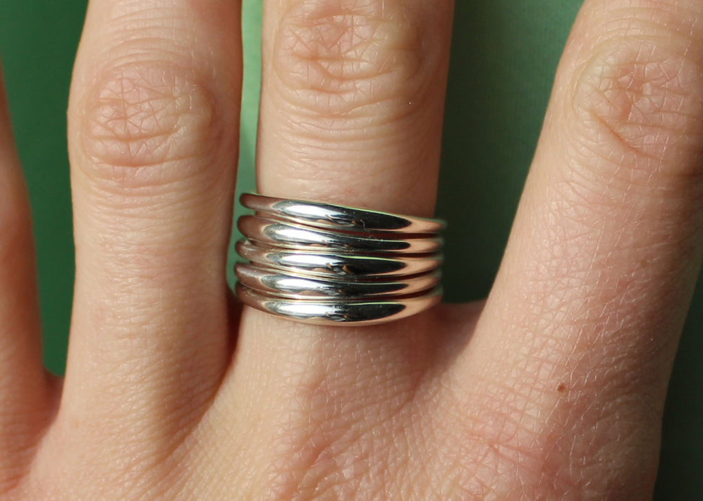 Wavelength Ring dainty stacking band in Sterling Silver