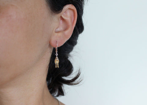 Space Cadet Astronaut Dangle Earrings in Brass and Silver