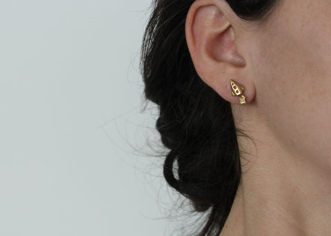 Brass Spaceship: Out of this World Mix and Match Stud earrings in Brass and Silver