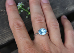 Cloudless Ring with reclaimed blue topaz in sterling silver - ready to ship size 6.75