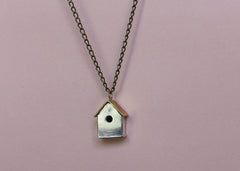 Silver and Brass Mixed Metal Birdhouse Necklace
