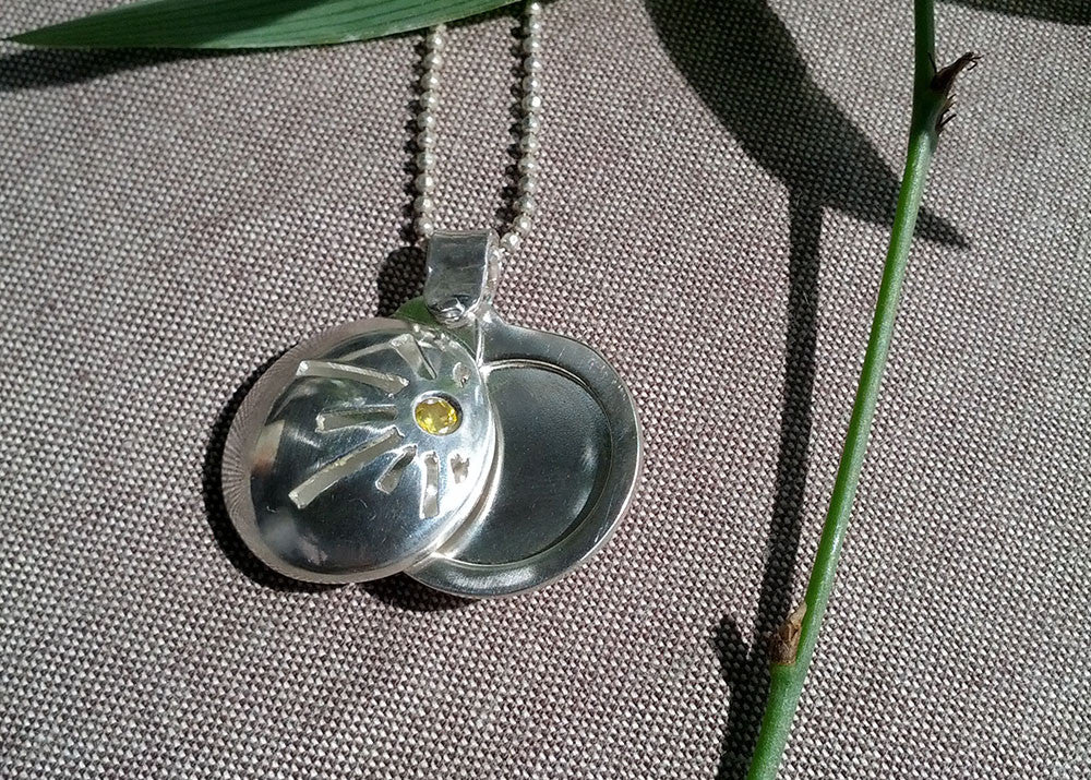 You Are My Sunshine...swivel photo locket in sterling silver with topaz