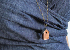 Copper and Silver Mixed Metal Birdhouse Necklace