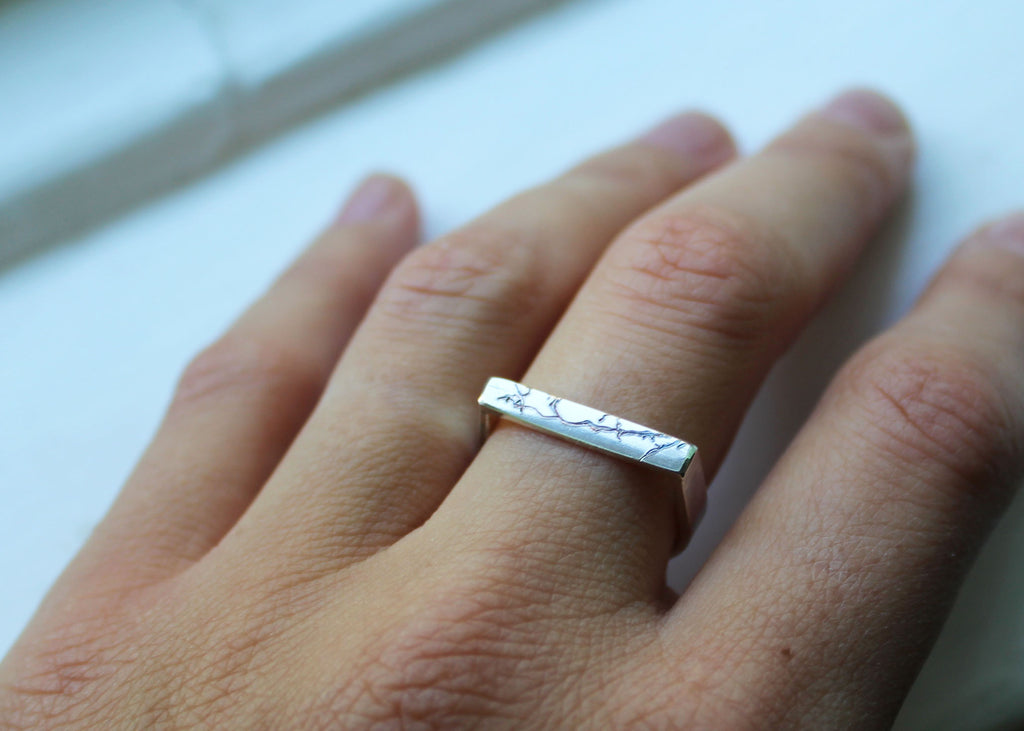 Bare Branches Rectangular Signet ring  - Ready to ship in size 6.5