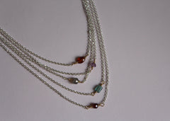 Little sparkler gemstone necklace in silver and gold-fill