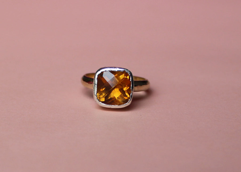 Topaz Lost & Found Ring in yellow gold and sterling silver - ready to ship size