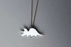 Triceratops Dinosaur Necklace in sterling silver