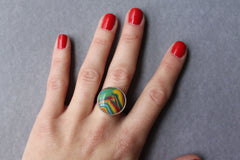 Rainbow Calsilica Cocktail Ring - ready to ship size 6.5