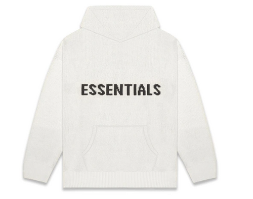 Fear Of God FOG Essentials Logo Hoodie Knitted Grey Oatmeal (7-10 DAYS TO SOURCE)