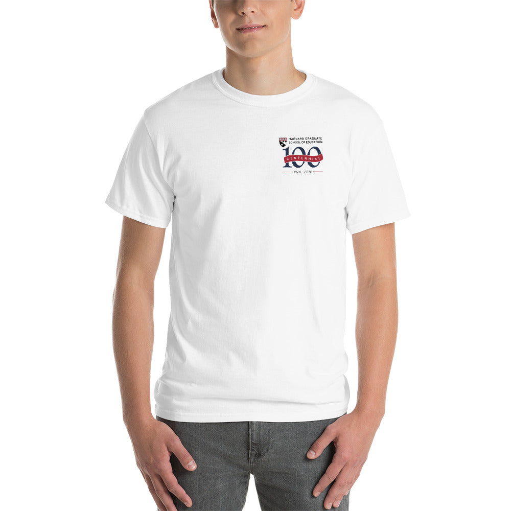Men's White T Shirt, Red Banner - HGSE Centennial