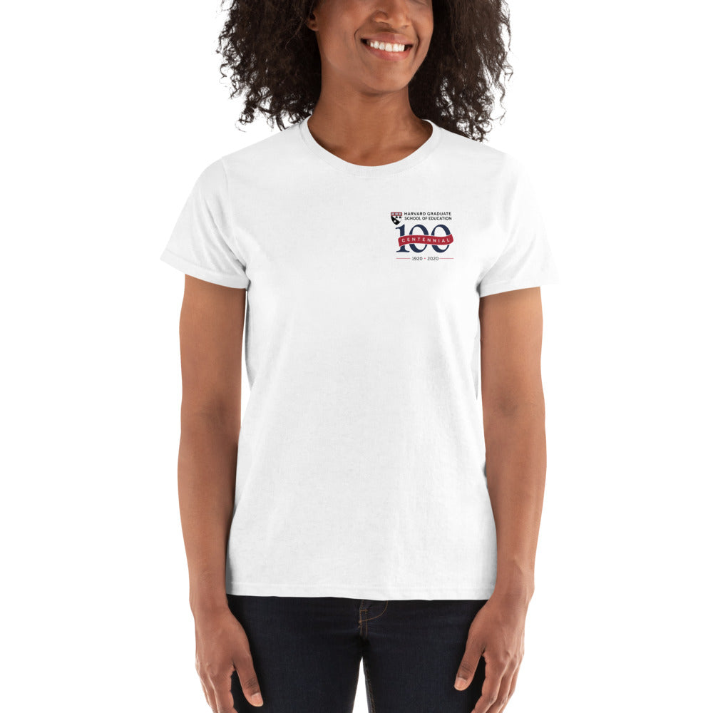 Women's White T Shirt, Red Banner - HGSE Centennial