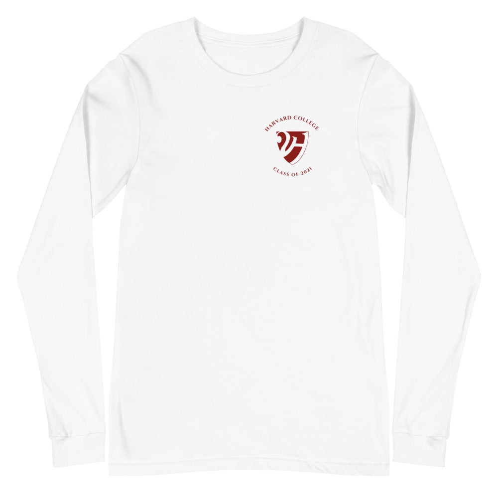 Harvard College Class of 2021 Unisex Long Sleeve Tee, Text