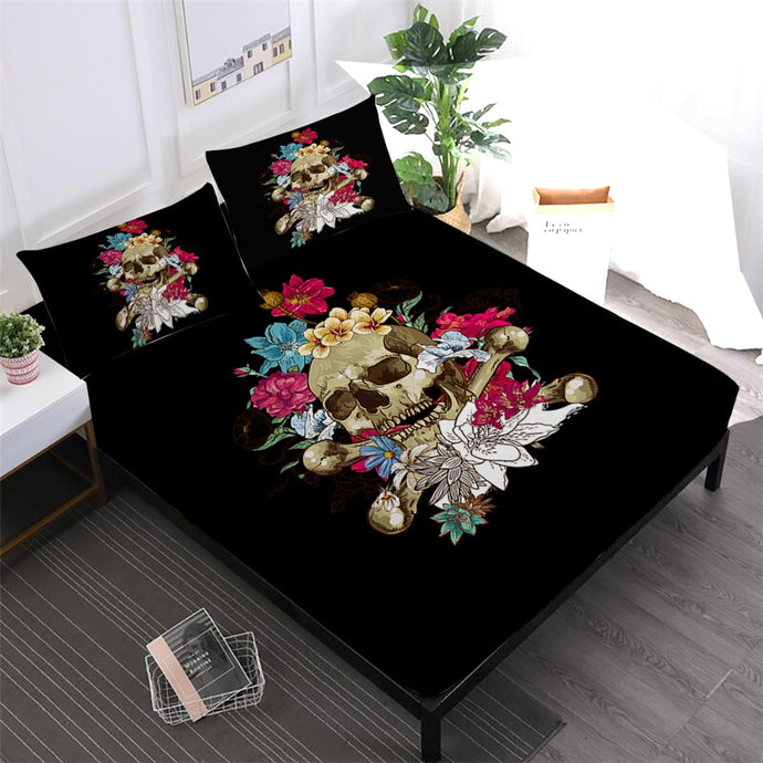 Skull and Colorful Flowers 4pcs Sheet Set