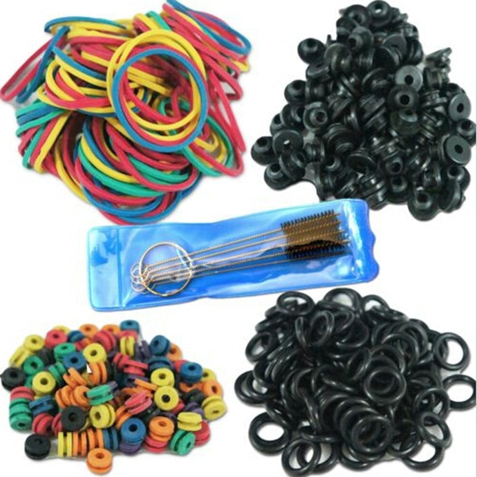 Tattoo Parts. Rubber O-Rings, A-bar Grommets, Nipple Bands, Cleaning Brush