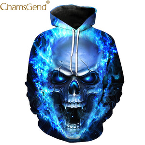 Ladies and Mens Ghost Fire Skull Hooded sweatshirt
