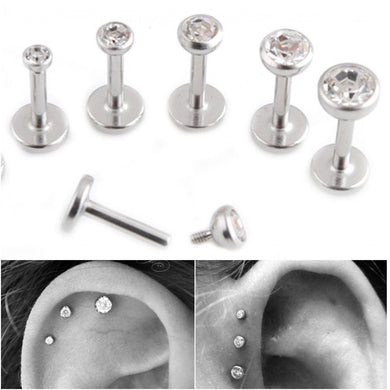 1pr Surgical Steel CZ Gem Internally Thread 16g Body Jewelry