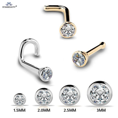 1Pc 20g  Zircon Gem Nose Piercing