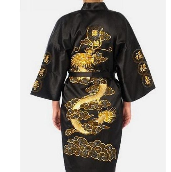 Men's Traditional Embroidery Satin Robe