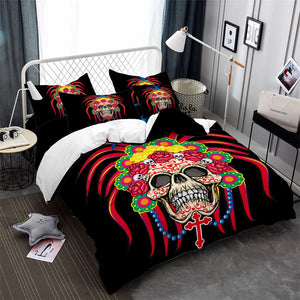 Tribal Skull and Bedding Set Colorful Feather Flowers Print