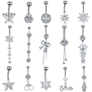 1PC Crystal Navel Button Piercings 16g