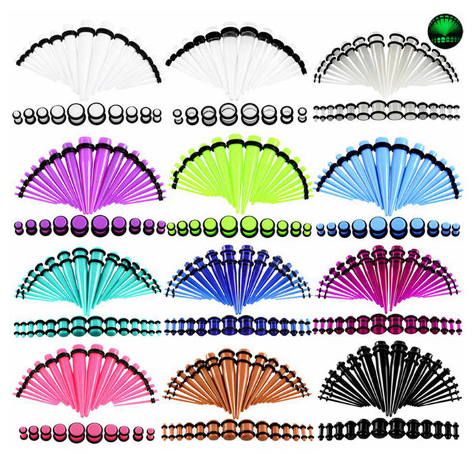 36pcs/lot Acrylic Ear Gauge Taper 14G-00G