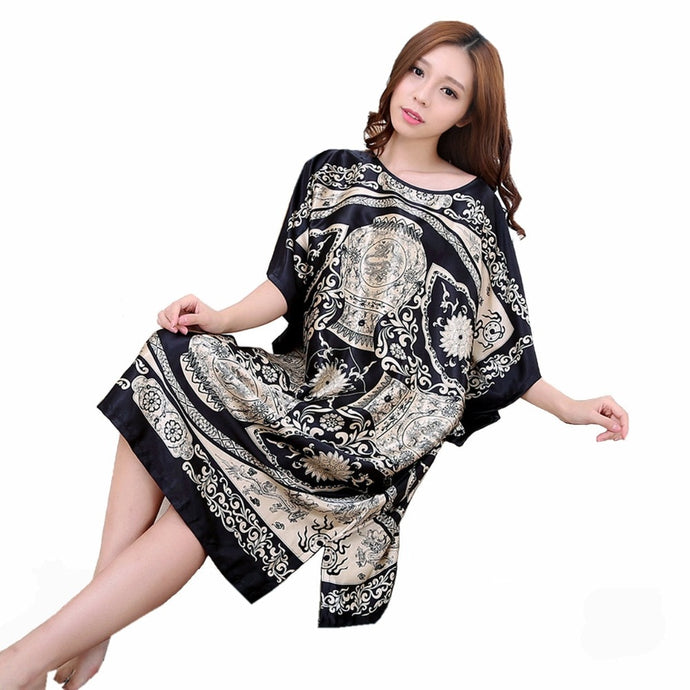 Faux Silk Night Robe