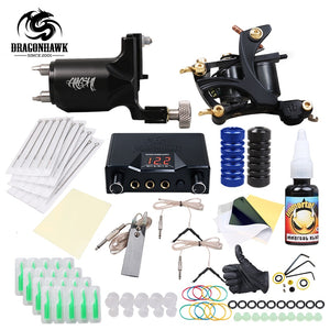 Complete Tattoo Kit. Rotary and a coil Machine included with a Dragonhawk Power Supply
