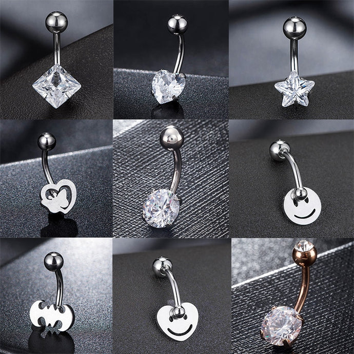 1pc 16g Stainless Steel Belly Button Rings
