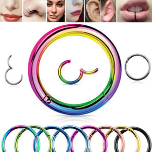 1PC Titanium Hinged piercing hoop 16G