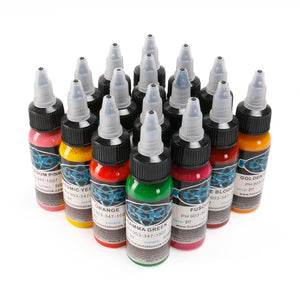 'Fusion' Tattoo Ink Set. 16 colors. 1oz each bottle.