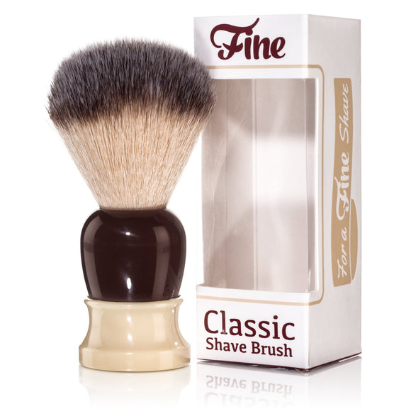 Classic Shaving Brush, Synthetic Fibers - Crimson/Ivory Handle