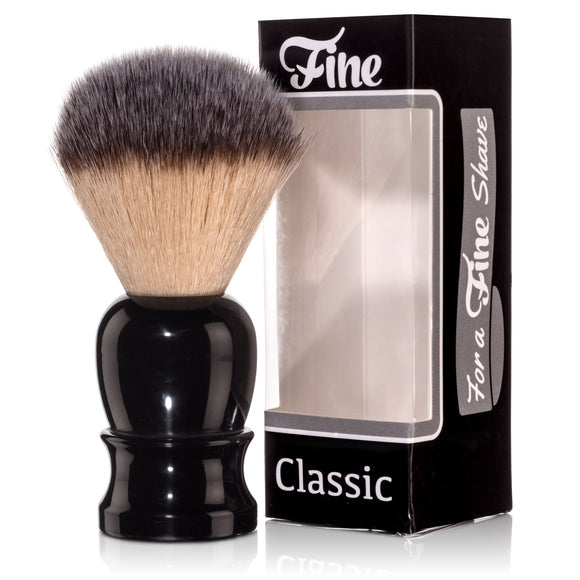 Classic Shaving Brush, Synthetic Fibers - Black Handle