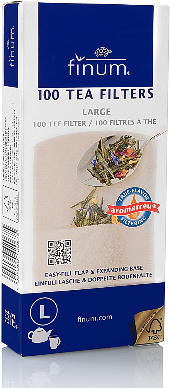 Finum Disposable Paper Tea Filter Bags - 100 Count