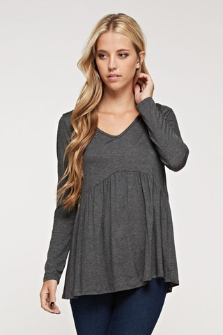 Solid V-Neck Babydoll Top