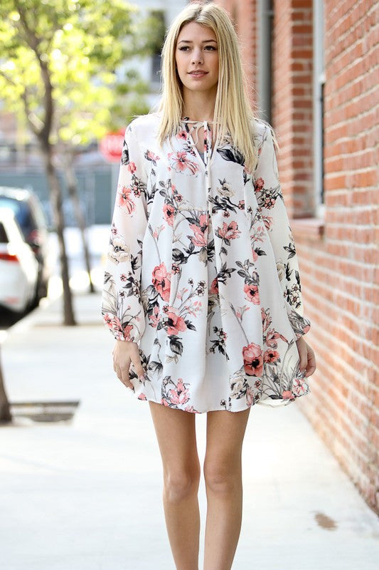 Ivory Floral Print Dress - Eliza Ash Boutique