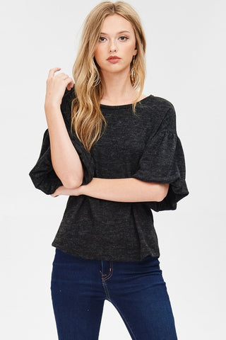 Puff Sleeve Brushed Hachi Knit Top