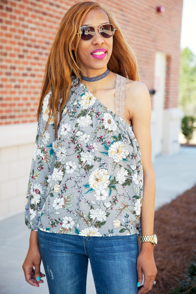 Floral One Shoulder Top - Eliza Ash Boutique