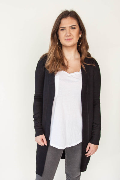 Long Cardigan with Front Pocket - Eliza Ash Boutique
