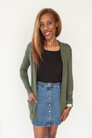 Open Front Cardigan with Pocket - Eliza Ash Boutique