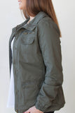 Military Zip Up Ruche Sleeve Jacket - Eliza Ash Boutique