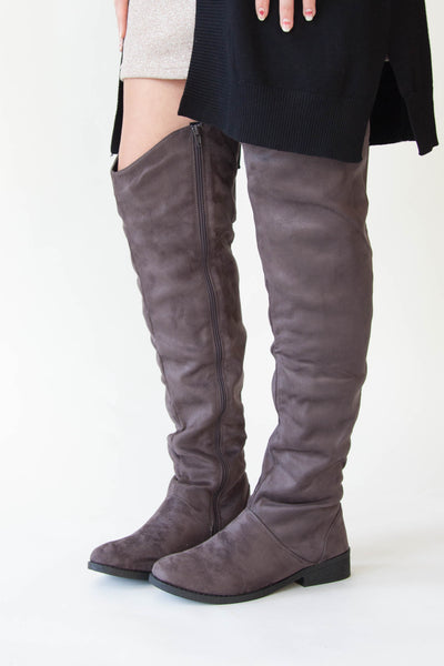 Gray Over-The-Knee Boots - Eliza Ash Boutique